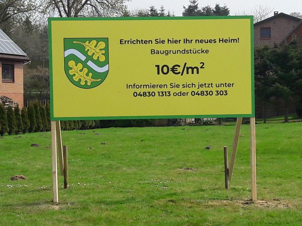 Werbung Bauland der Gemeinde Frestedt