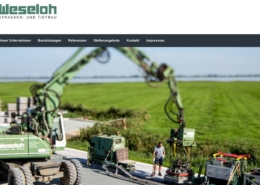 Screenshot der Homepage der Weseloh GmbH