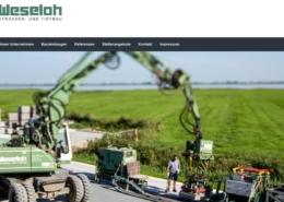 Screenshot der Homepage der Weseloh GmbH